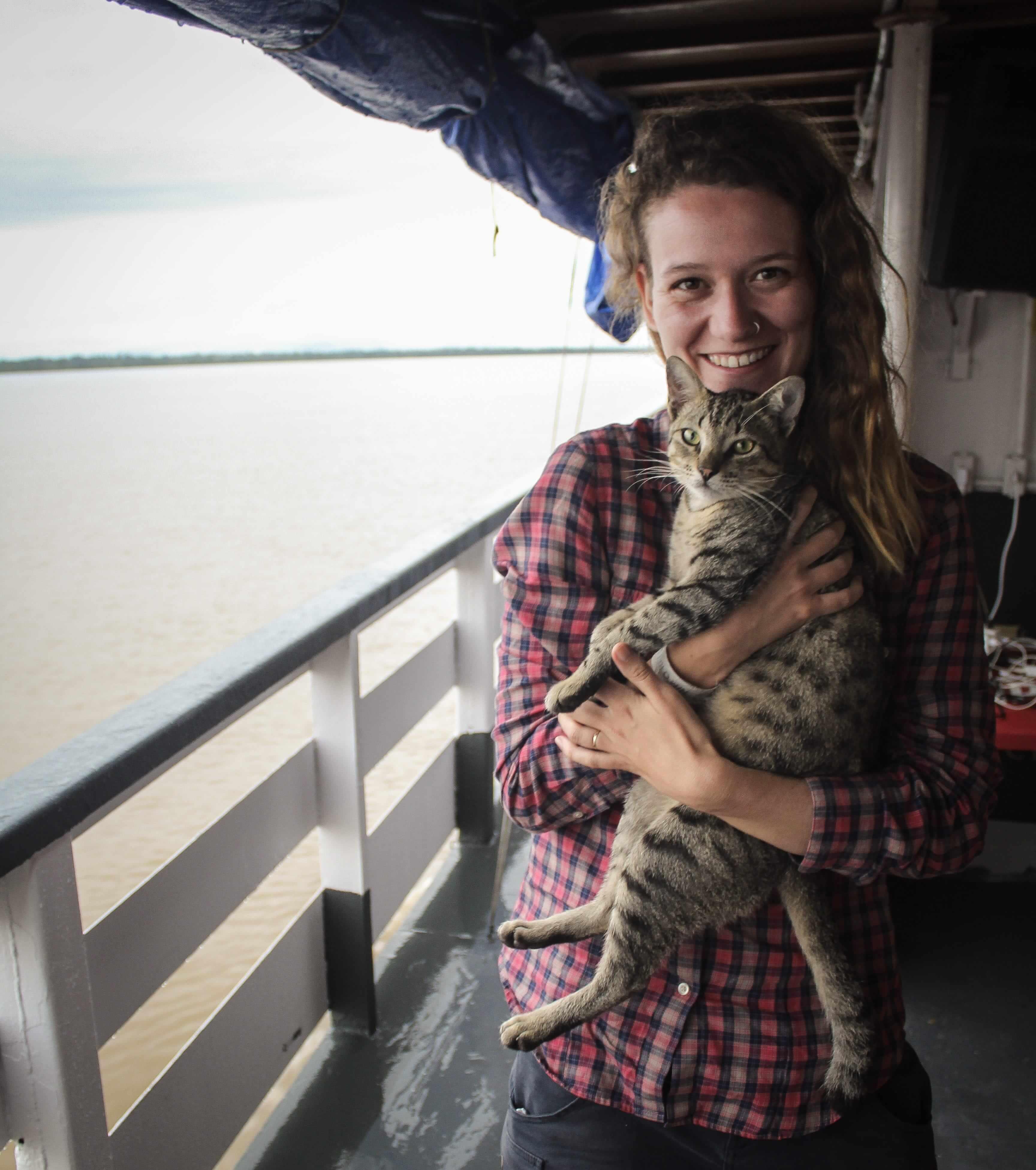 Cat on board the Amazon boat